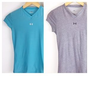 Lot of Two Girl Youth Under Armour Athletic Shirts
